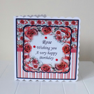 Botanical Bouquet Red Rose Personalised Birthday Mothers Day Card