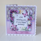 Botanical Bouquet Purple Beauty Personalised Birthday Mothers Day Card