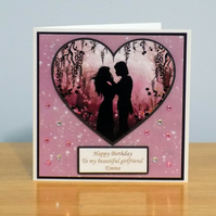 Personalised Twilights Kiss Silhouette Greeting Card