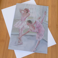 Ballet Dancer's Art Print A5 Blank Greeting Card. Free Postage