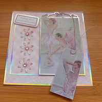 Ballet Dancer's Art Print Birthday Card with Matching Gift Tag