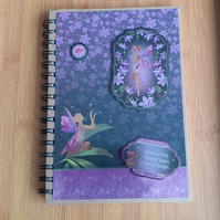 Hand Decorated Midnight Fairies A5 Lined Notebook. Wishing. Plus Free Gift
