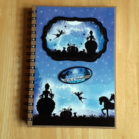 Hand Decorated Once Upon a Fairy Tale A5 Lined Notebook. Cinderella Ball