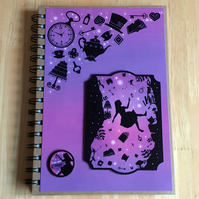 Hand Decorated Once Upon a Fairy Tale A5 Lined Notebook. Alice in Wonderland