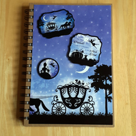 Hand Decorated Once Upon a Fairy Tale A5 Lined Notebook. Cinderella