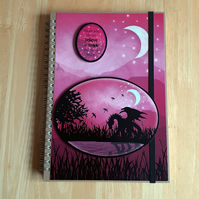 Hand Decorated Mystical Dragon A5 Lined Notebook