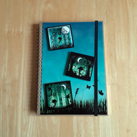 Hand Decorated Mystical Fairies A5 Unlined Notebook. Twilight Fairies