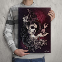 DAY Of The DEAD GIRL - Crow, Roses, Time - Signed Print - Sugar Skull Girl Art