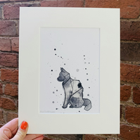 SALE Origami style CAT print