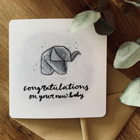 Congratulations on your new baby origami baby elephant card