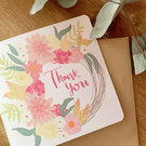 "Pink floral wreath ""Thank you"" card"