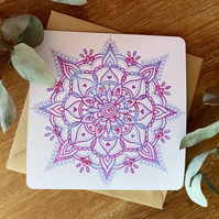 Mandala Pattern embellished with glitter greetings card