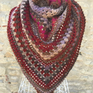 ladies crochet triangle scarf shawl wrap red and brown