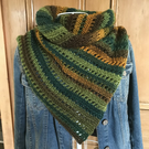 Crochet triangle asymmetric scarf wrap