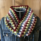 Crochet multi colour ladies granny stripe cowl neck warmer infinity scarf