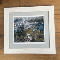 Whitewashed wood framed  giclee art print Incoming Tide-Staithes