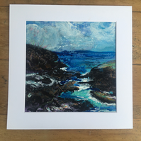 Coastal Contemplation, a mixed media mounted painting, 27cm x26cm