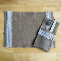 Rustic placemat made of hessian fabric