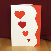 Valentine's Day Card with felt hearts and lace