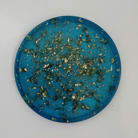 Gold Leaf design Teal Coaster