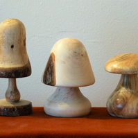 Set of 3 Wooden Mushrooms