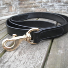 "Beautifully tactile 1"" wide Black Bridle Leather Leash"
