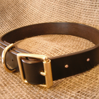 "Top Quality Leather Dog Collar 1"" (2.5 cm) wide"