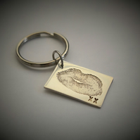 Lips Keyring - Kiss Key charm - Your Own Lips Fine Silver Keepsake