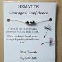 HEALING CRYSTAL Wish Bracelet - Hematite - Courage & Confidence - Semi Precious
