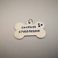 Hand Stamped Personalised Dog Tag with or without Swarovski Crystals