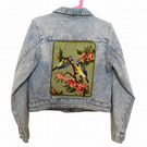 Up cycled reworked child's retro denim jacket age 7 - 8 vintage flower buttons