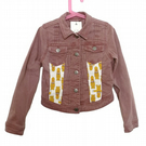 Child's up cycled, reworked retro y2k Next pink denim jacket. Age 7-8