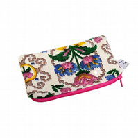 Up-cycled Purse handmade from Vintage Fabric. Zip Pouch, Glasses Case, Storage