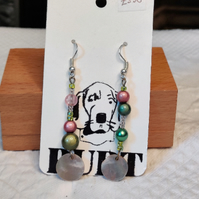 Upcycled subtly mismatched earrings made with vintage beads
