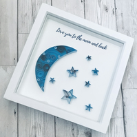 Love you to the moon and back, Original nursery quilled art