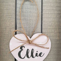 Polka Dot Pink Personalised Hanging Heart