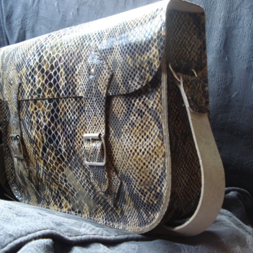 Small Handstitched Satchel in a Reptile Print Leather