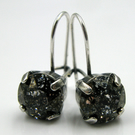 Patina Drop Earrings Made With Swarovski Crystals Antique Silver Finish