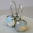 Drop Earrings Made With Swarovski White Opal Crystals