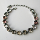 Bracelet Made With Swarovski Crystals - The Neutral Collection - Antique Silver