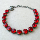 Bracelet Made With Siam Red Swarovski Crystals With Black Hypoallergenic Finish