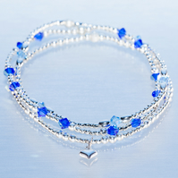 Sterling silver stacking charm bracelets with blue swarovski beads