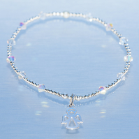 Sterling silver and swarovski angel charm bracelet