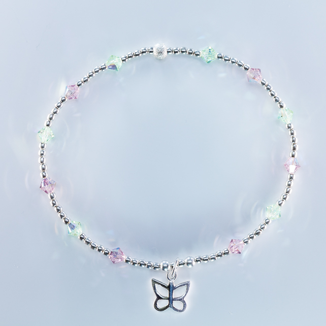 silver butterfly bracelet with Swarovski beads