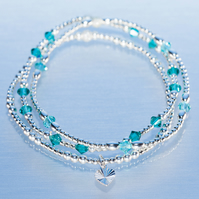 Sterling silver stacking bracelets with turquoise swarovski beads