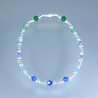 Dainty sterling silver bracelet in bluebell colours, with Swarovski elements