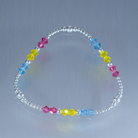 Sterling silver and Swarovski bracelet in pansexual pride colours