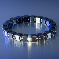Chunky polished hematite stretch bracelet