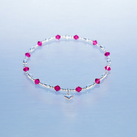 Dainty sterling silver Bracelet with dark pink Swarovski and heart charm