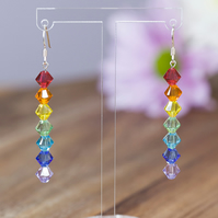 Sterling Silver and Swarovski rainbow earrings